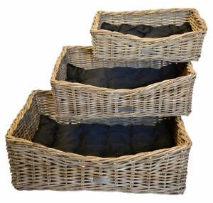 Grey Wicker Rattan Pet Bed Basket Cat Kitten Dog Puppy Sleep Nest Rectangular