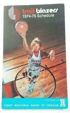 1974-75 Portland Trail Blazers NBA Basketball Schedule Bill Walton