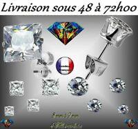 BOUCLE D'OREILLE HOMME FEMME ACIER 316L ZIRCON 4 TAILLES ZIRCONIUM BLANC ARGENT