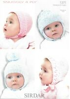 Sirdar Snuggly 4-ply Knitting Pattern 1371, Baby Bonnets, Premature to 3 Years