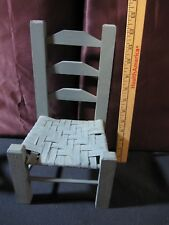 Blue Wooden Chair with Woven Seat (Large Doll House Size)