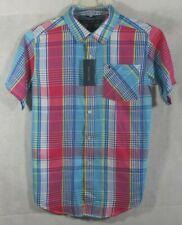 Tommy Hilfiger Boy's Madras Print Short Sleeve Button Up Shirt - Size XL NWTags