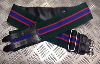 Genuine British Military Green With Red/Blue Stripes Double Buckles Stable Belt