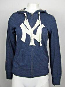 NY Yankees Touch Women's Full Zip Distress Logo Hooded Sweatshirt  MLB S *Flawed