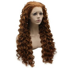 Long Curly Auburn Blonde Mix Heat Resistant Synthetic Lace Front Wig
