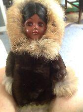 """12"""" Carlson Eskimo Doll; Fur Coat; Suede Fish in Hand; Sleep Eyes"""