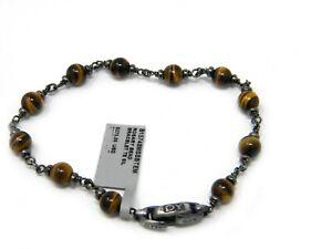 David Yurman Mens Rosary Bead Bracelet in Tiger Eye & Sterling Silver Medium NWT