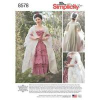 Simplicity Sewing Pattern 8578 Misses 18th Century Gown Costume Size 14-22 UC