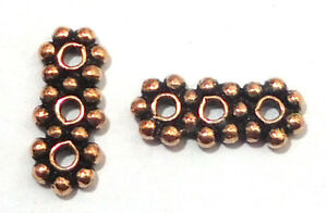 110 PCS 5X12MM FLOWER DAISY SPACER BAR 3 HOLES OXIDIZED COPPER JEWELRY MAKING BE