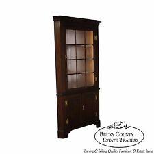 Henkel Harris Solid Mahogany Chippendale Style Large Corner Cabinet