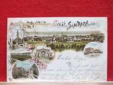 Farblitho - Gruss aus Simbach am Inn - gel 1898 - ua. Bahnhof , Innbrücke    m1