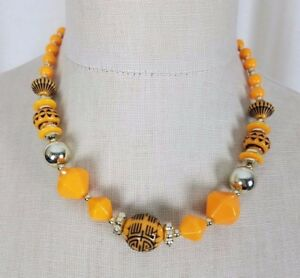 Ethnic Tribal Yellow Orange Silver Etched Beads Beaded Necklace Princess Choker