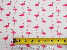 Pink Flamingos Birds Fruity Friends on White BY YARDS Makower UK Cotton Fabric