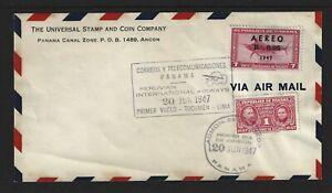 Panama M107 Panama - Peru Airmail First Flight Cover Peruvian Intl Airways 1947