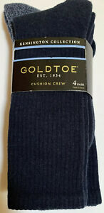 New With Tags GOLDTOE Mens 3 Pair Kensington Cushion Crew Socks Blue
