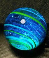 """.77"""" Jumbo Aqua BLUE VINTAGE HANDMADE Old Toys Vintage Marbles Contemporary"""