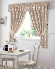 "BEIGE GINGHAM EMBROIDERED PELMET TO MATCH KITCHEN CURTAINS  L136"" X W10"""
