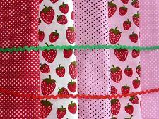 5 Stoffe Stoffpaket 100%Baumwolle 25x50cm Patchwork Erdbeerzeit mehrfarbig