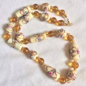Vintage Venetian Murano Glass Cream/Golden Amber Wedding Cake Beaded Necklace