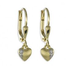 Gold 333 Mädchen Ohrringe Herz Kinder Herzchen Ohrhänger mit Zirkonia Hänger Neu