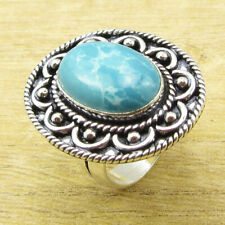 Style Ring 8.25 ! Factory Direct 925 Silver Overlay Simulated Larimar Vintage