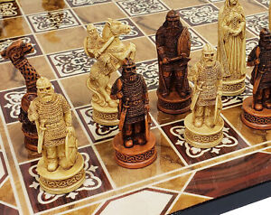 """Antique Ivory & Brown Norse Viking Chess Set 3 1/4 King 17"""" Burlwood Color Board"""