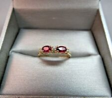 14k Yellow Gold Oval 2 Red Ruby Ring 3 Diamonds Gem Size 6 Band 1.95 Grams Nice!