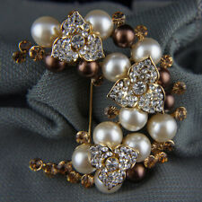 14k Gold GF pearls elegant crystals brown brooch pin with Swarovski elements