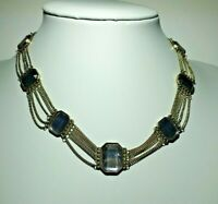Art Deco style necklace antique gold Tone multi Chain,Faceted smoked glass Bead