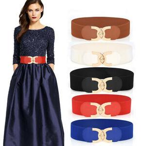 Womens Belt Waistband Elastic Wide Waist Closure Dress party Alloy Buckle Girdle