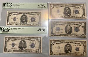 1934-D 1934C $5 & $10 United States Silver Certificate Fr.1705 Fr.1653 Fr.1654