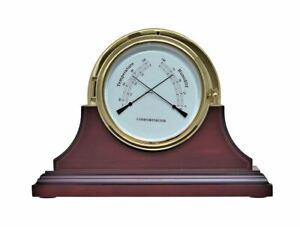 Brass Thermometer, Hygrometer with Mahogany Stand