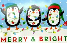 New 8 Lot Christmas Holiday Greeting Cards Penguins Merry & Bright 6 x 4