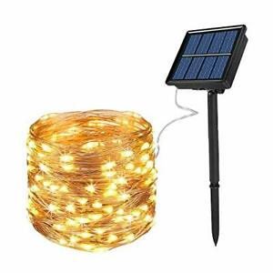 Solar String Lights 200 LED Fairy Lights 8 Modes 3-Strands Copper Wire 72 ft Wa