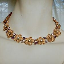vintage signed CORO NECKLACE gold tone FLOWER HEADS w/PEARL & PURPLE RHINESTONES