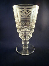 Logen-Glas Pokal m. Freimaurer-Motiv Freemason
