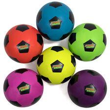 Set of 6 Regulation Size Neon Colors Soccer Balls with Air Pump, Mesh Bag