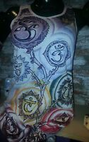Yoga Shirt tank top cotton Lotus Buddha  Meditation Mandala Love Retro Vintage S