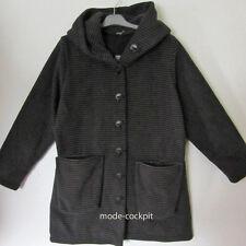 BORIS INDUSTRIES Kuschel Fleece Jacke Parka Kapuze schwarz Streifendesign 46-50