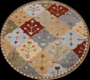 Garden Design Oriental Transitional Hand-Tufted Area Rug Wool 8'x8' Round Carpet