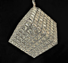 CRYSTAL GLASS CUBE PENDANT LIGHT FITTING