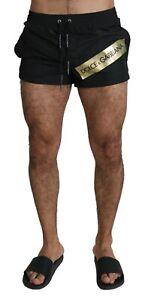 DOLCE & GABBANA Swimshorts Black Gold Logo Beachwear Boxer IT3 / XS