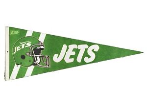 "Vintage 1980's New York Jets NFL Pennant 28.5"" Flag Genuine Original Collectible"