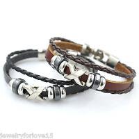 Schwarz Damen Herren Armschmuck Armband Armkette Buchstaben Lederband Mode PD