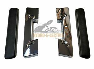 NEW 1964-1967 Cutlass, F85 & 442 Black Front Arm Rest Pads & Chrome Bases - Set