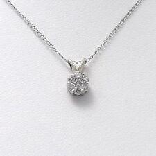 14k Gold .25ct Invisible Set Diamond Flower Cluster Petite Pendant Necklace