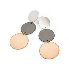 Ladies Disc Design Drop Earrings silver, Hematite and Rose Gold Coloured