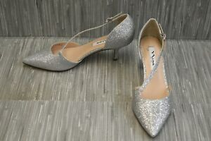 Nina Tirisa Evening Pump, Women's Size 8M, Silver Glitter NEW
