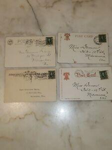 Antique 1906 Vintage Ben Franklin 1 Cent Stamp Lot of 4 Used On Postcard (lot12)