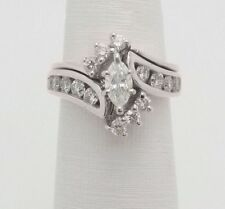 1.50 Ct Marquise Diamond Wedding Bridal Set Engagement Ring 14K White Gold Over